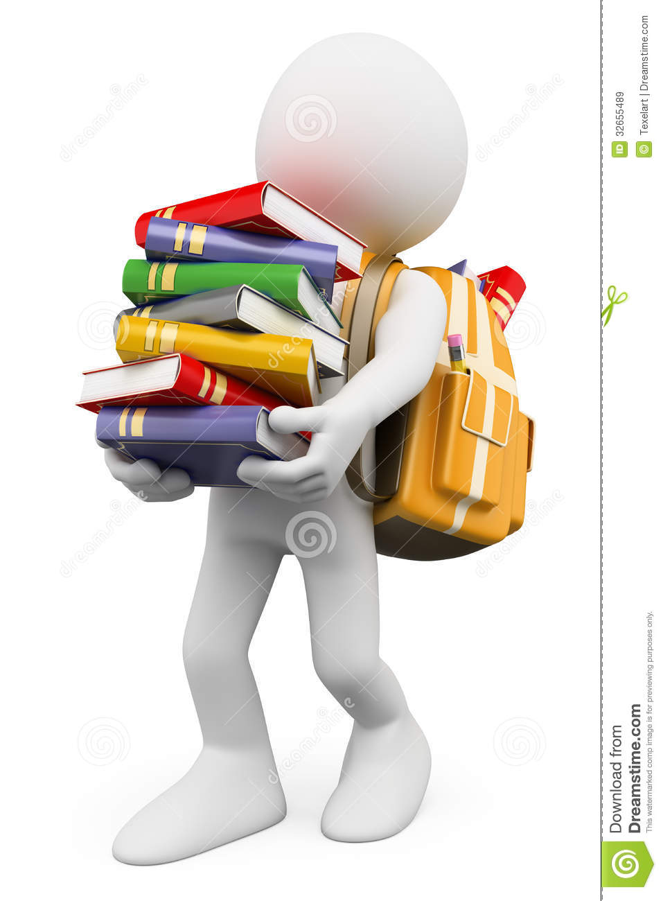 3d White People  Student Carrying A Stack Of Books Royalty Free Stock