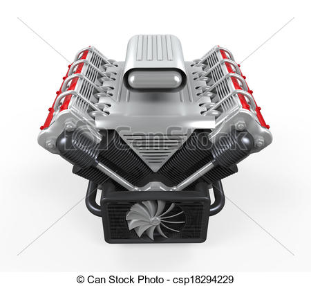 Car Motor Clipart Stock Illustration   V8 Car
