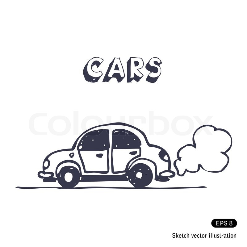 Cartoon Car Blowing Exhaust Fumes   Vector   Colourbox
