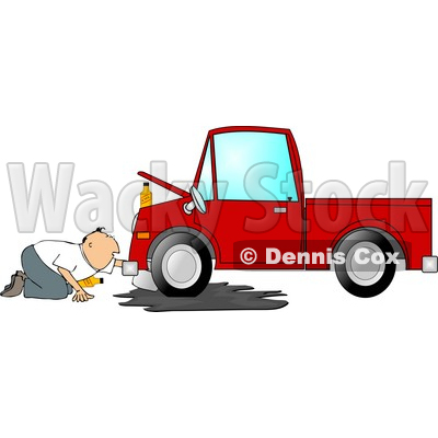 Clipart 4285 Man Trying To Give A Red Truck An Oil Change Clipart