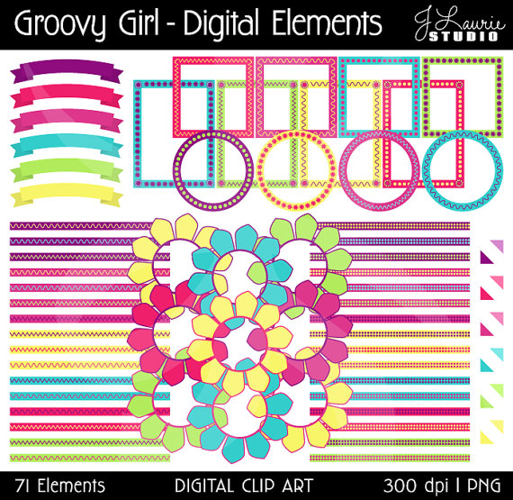 Digital Clipart Elements Groovy Girl Flowers Seventies Sixties Retro