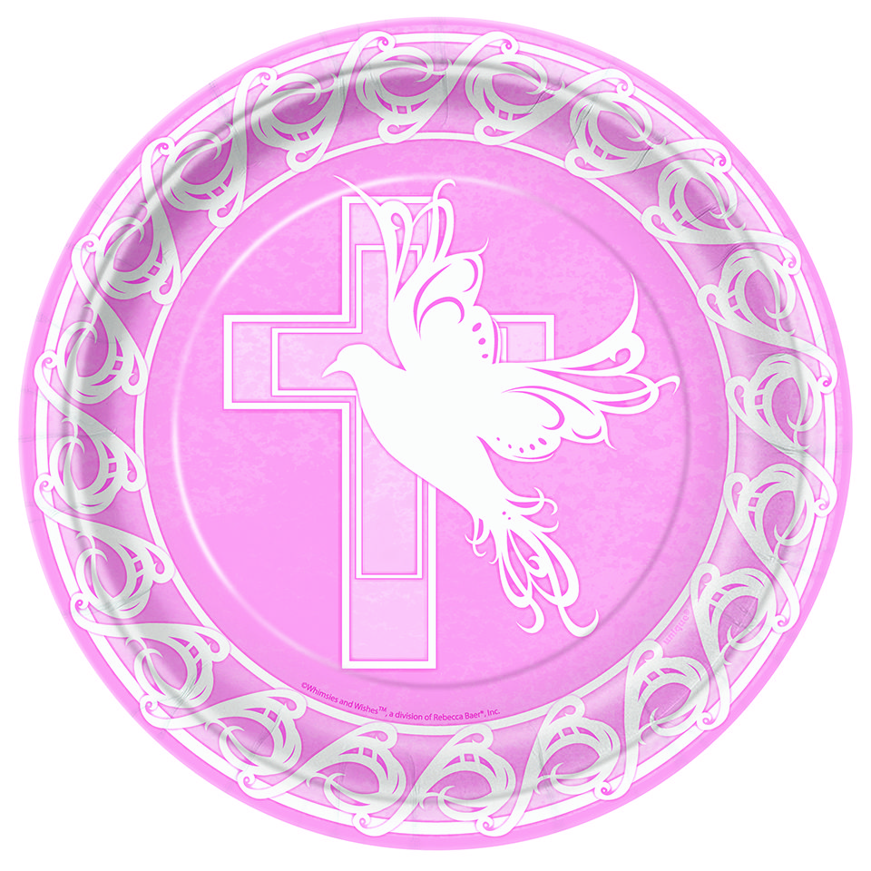 Dove Cross Pink Baby Girl Christening Baptism Or Communion 9 Plates