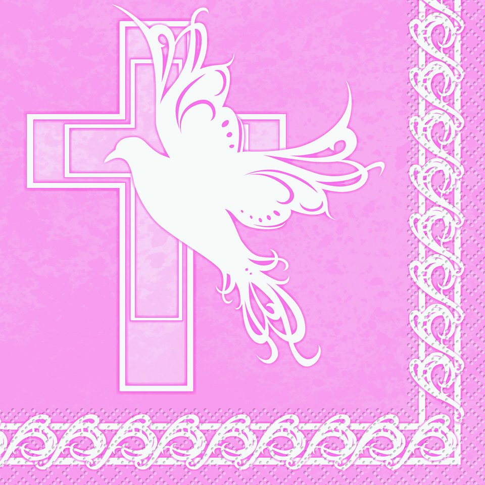 Dove Cross Pink Baby Girl Christening Baptism Or Communion Napkins