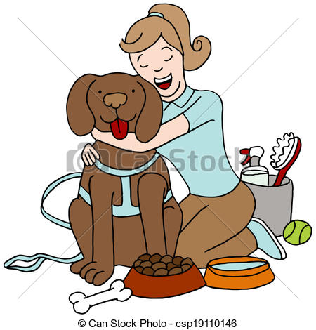 Eps Vector Of Taking Care Of Dog   An Image Of A Female Taking Care Of