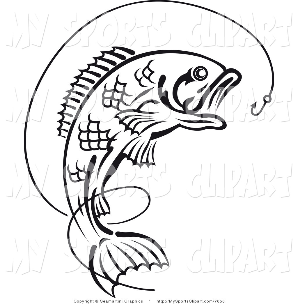 Line Drawing Of Fish : Fish hook outline clipart suggest