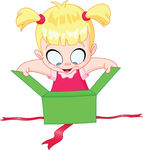 Girl Open Gift   Little Girl Open A Green Gift Box