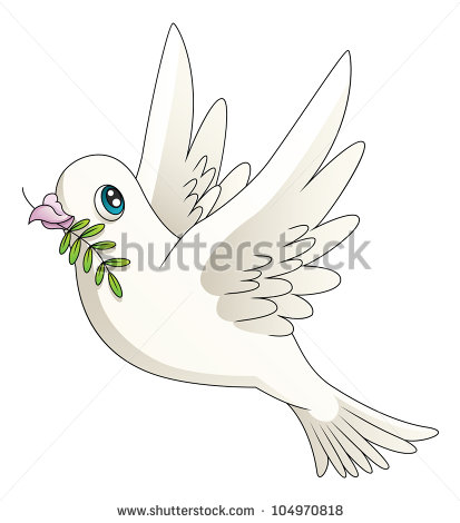Illustration Of A Cartoon Dove With An Olive Branch  Raster    Stock
