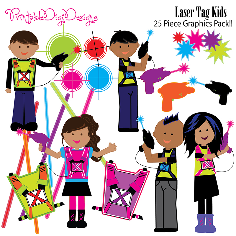 Laser Tag Kids Clipart Graphic Set   6 00 Laser Tag Kids Clipart