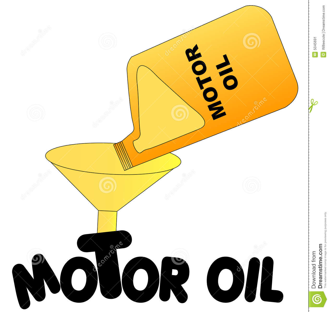 Oil Being Poured Into Funnel With The Words Motor Oil   Vector