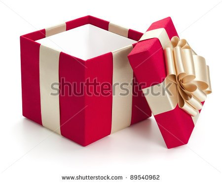 Open Gift Box Isolated On The White Background Clipping Path