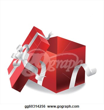Open Gift Box On A White