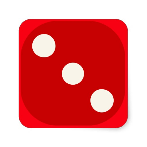 Red Dice Die Roll Three Square
