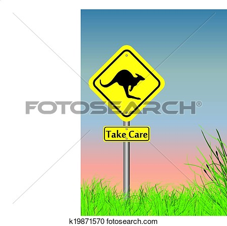 Take Care Of Kangaroo Sign With Grass On Lower Section