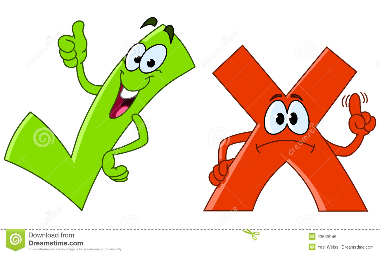 Tick And Cross Cartoon Royalty Free Stock Photo   Image  20589945