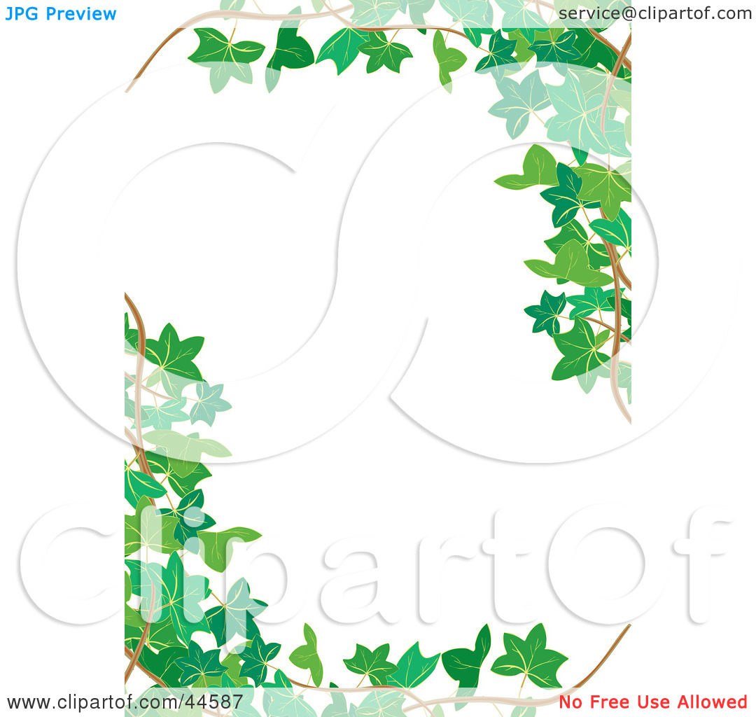 Clipart Illustration Of A White Vertical Background Bordered In Green