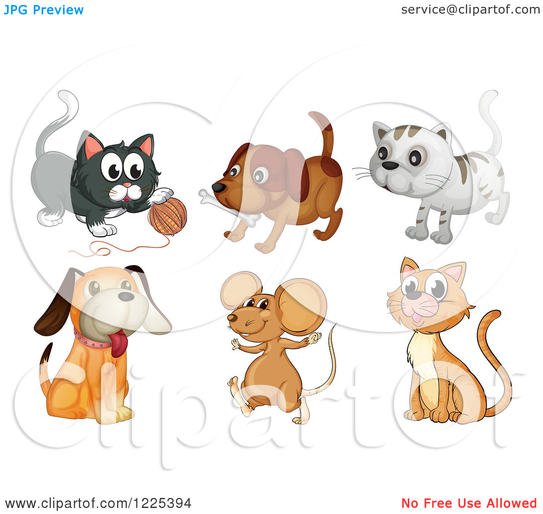 Clipart Of Dogs Cats And Mice   Royalty Free Vector Illustration By