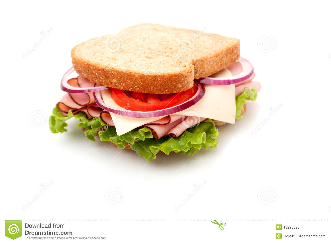 Ham Sandwich On Whole Wheat Bread Royalty Free Stock Photo   Image