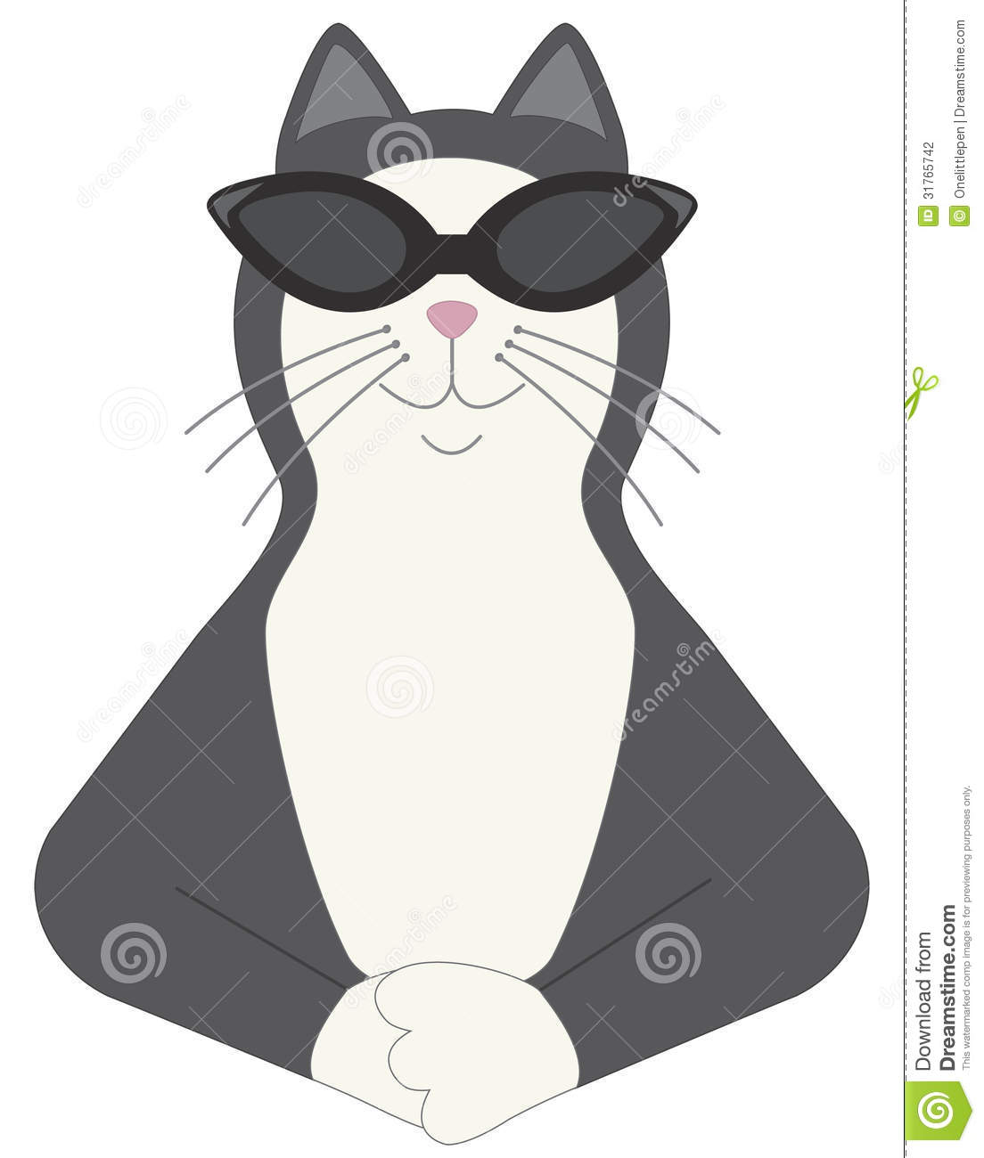 Happy Black And White Cat Wearing Sunglasses And Looking Very Cool