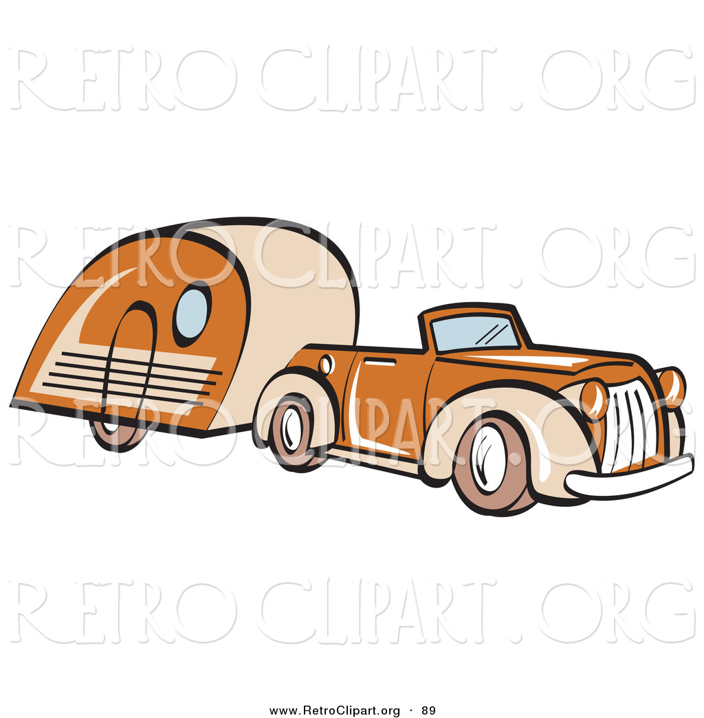 Larger Preview  Retro Clipart Of An Orange Convertible Car Pulling A