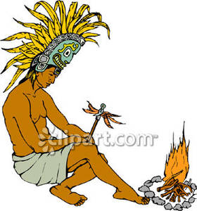 Or Inca Wearing A Ceremonial Headdress   Royalty Free Clipart Picture