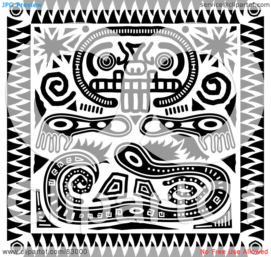 Royalty Free  Rf  Clipart Illustration Of A Black And White Inca