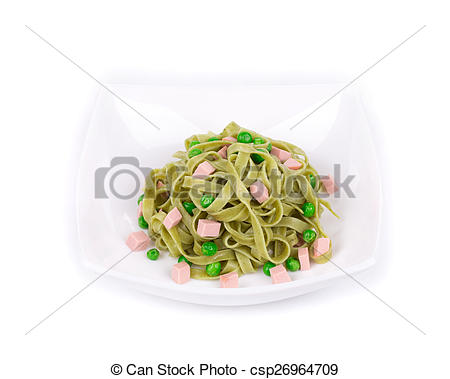 Stock Photography Of Pasta Tagliatelle With Green Peas And Ham Whole