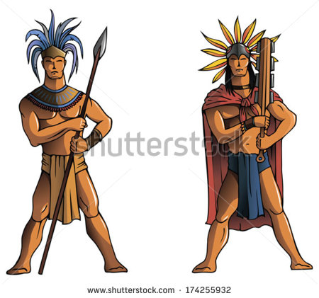 Warriors Of South America Mayan Aztec Or Inca Vector Illustration