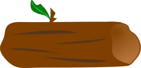 Brown Log With Green Leaf Clip Art At Clker Com   Vector Clip Art