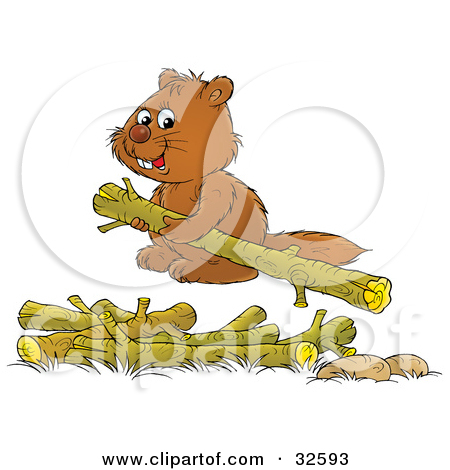 Clipart Illustration Of A Two Cute Brown Beavers Carrying Wood Logs By