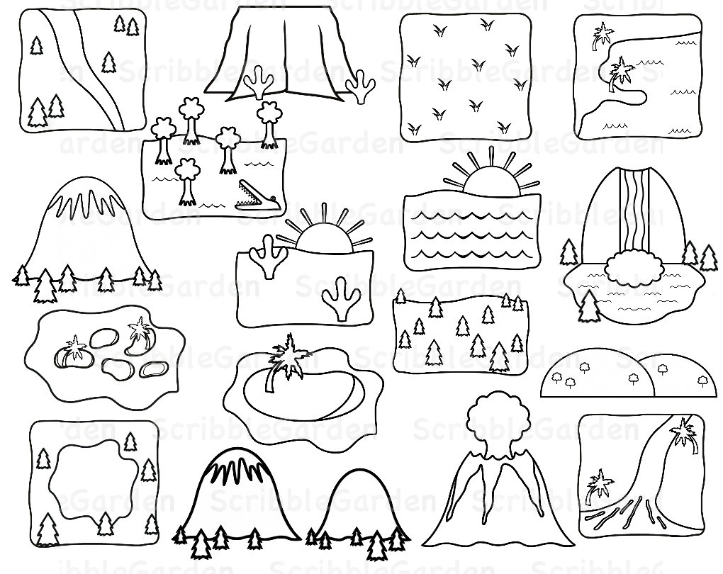 Line Drawing Geography : Landforms clipart suggest