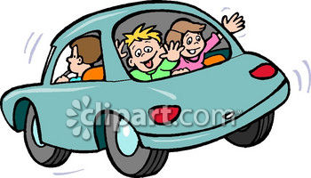Kids In The Back Window Of A Car Royalty Free Clipart Image