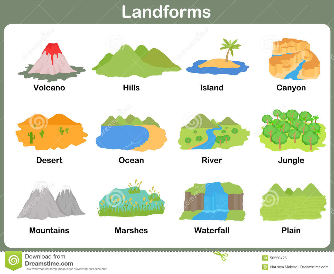 Leaning Landforms For Kids Stock Vector   Image  50220426