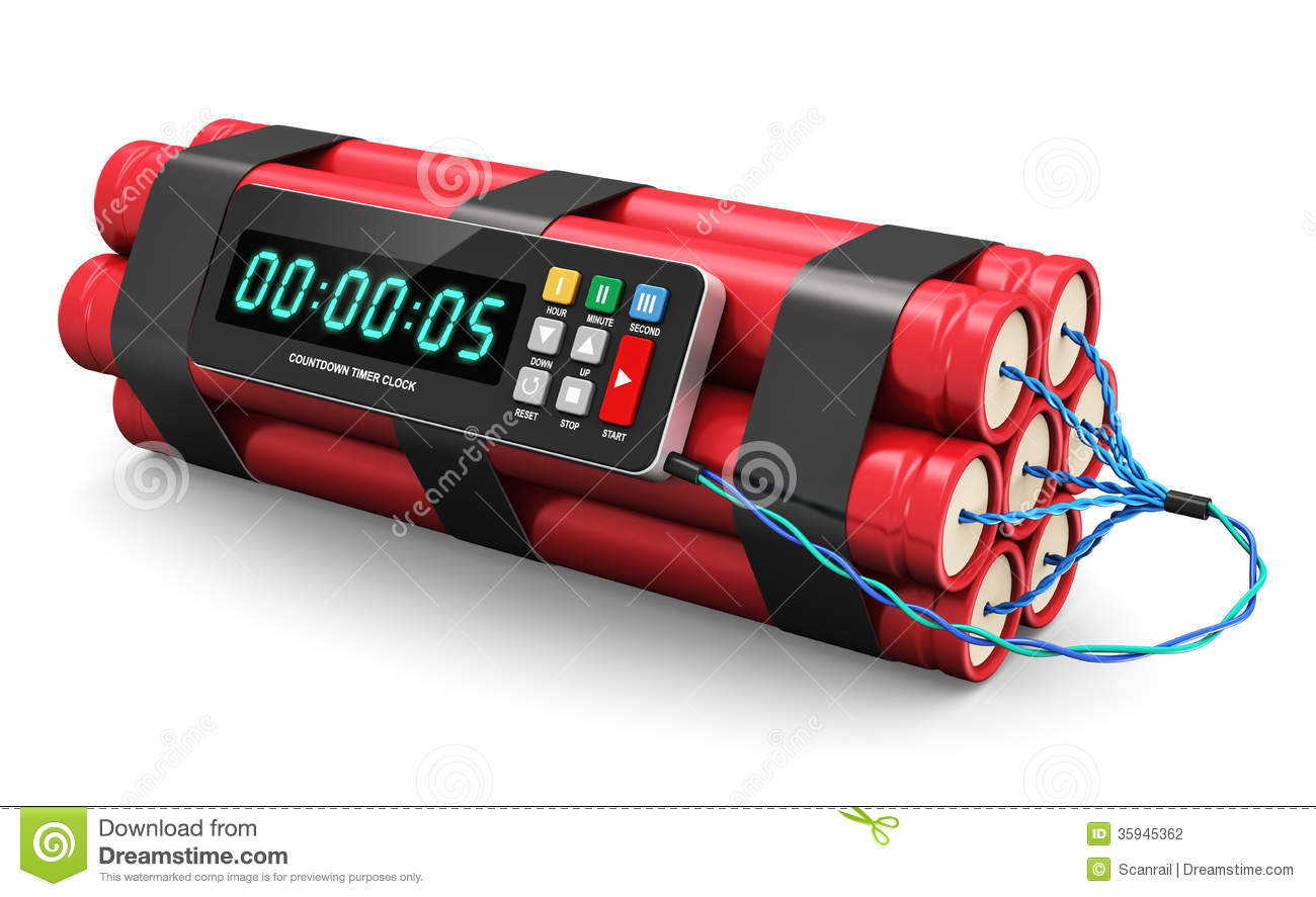 Tnt Time Bomb Explosive With Digital Countdown Timer Clock Isolated On