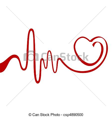 Vector Clipart Of Abstract Heart   Heart And Ecg From Red Ribbon