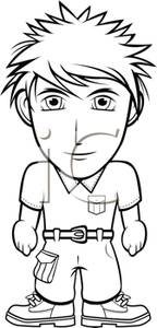 And White Cartoon Of A Short Stocky Man   Royalty Free Clipart Picture