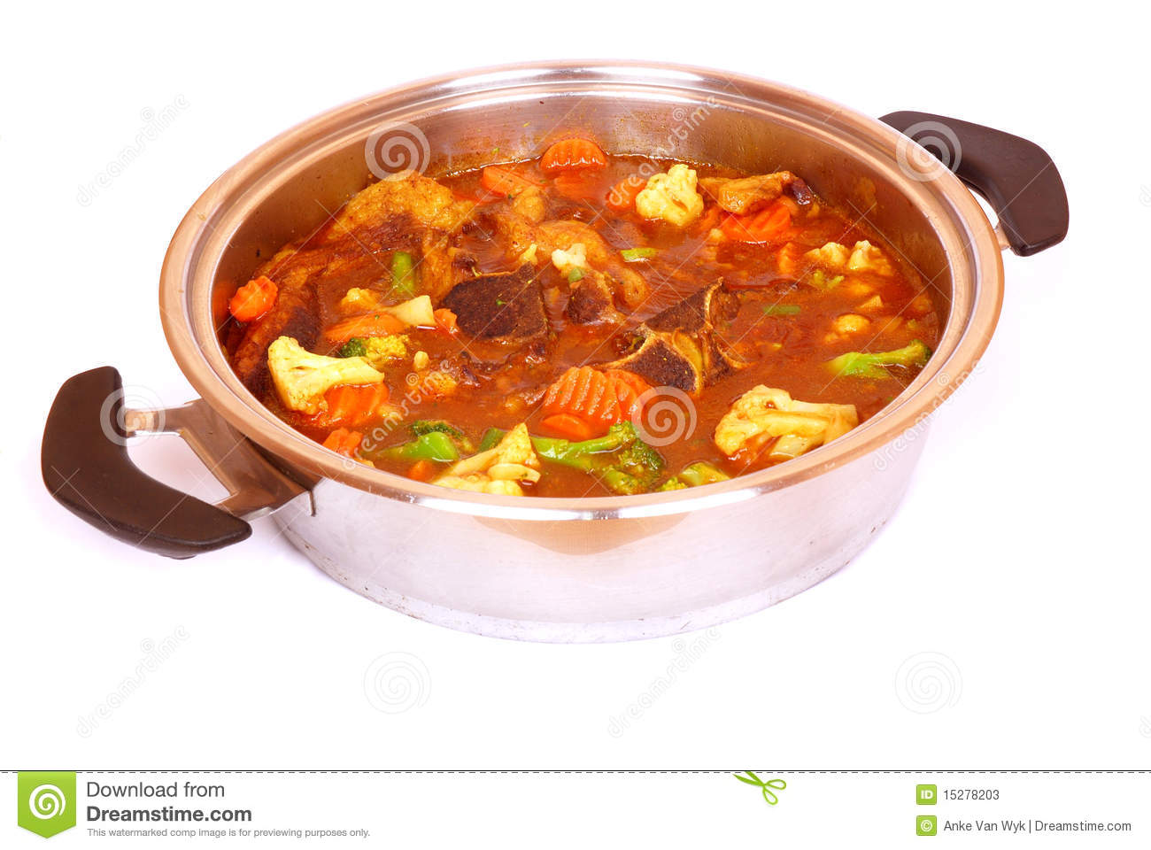 Beef Stew With Vegetables  Image Isolated On White Studio Background