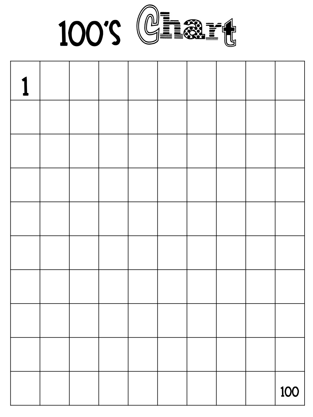 Worksheet Blank 100 Chart For Kindergarten 100 chart clipart kid fast finisher folder i haven t quite made these but m going to for