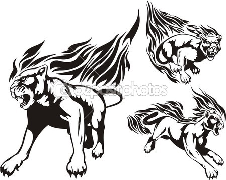 Flaming Big Cats    Stock Vector   Digital Clipart  3195455