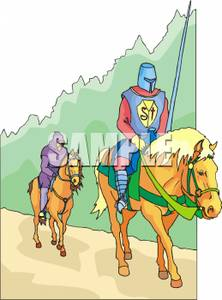Knight And Companion On Horseback   Royalty Free Clipart Picture