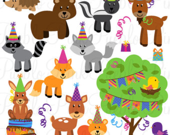 Party Animals Clipart Clip Art Forest Woodland Animals Clipart