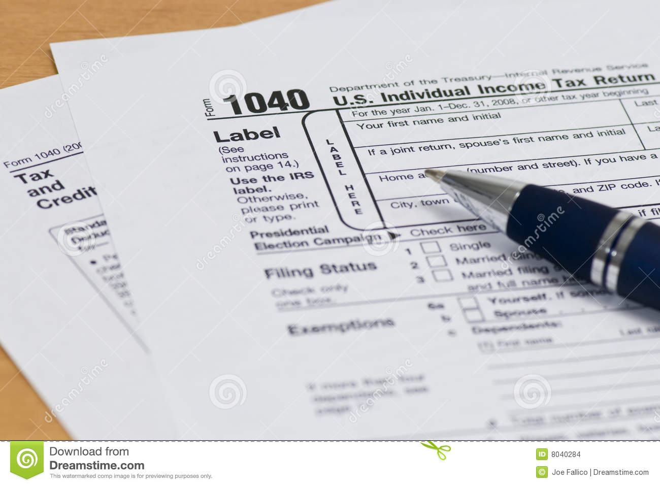 1040 Irs Tax Form Close Up Editorial Stock Image   Image  8040284