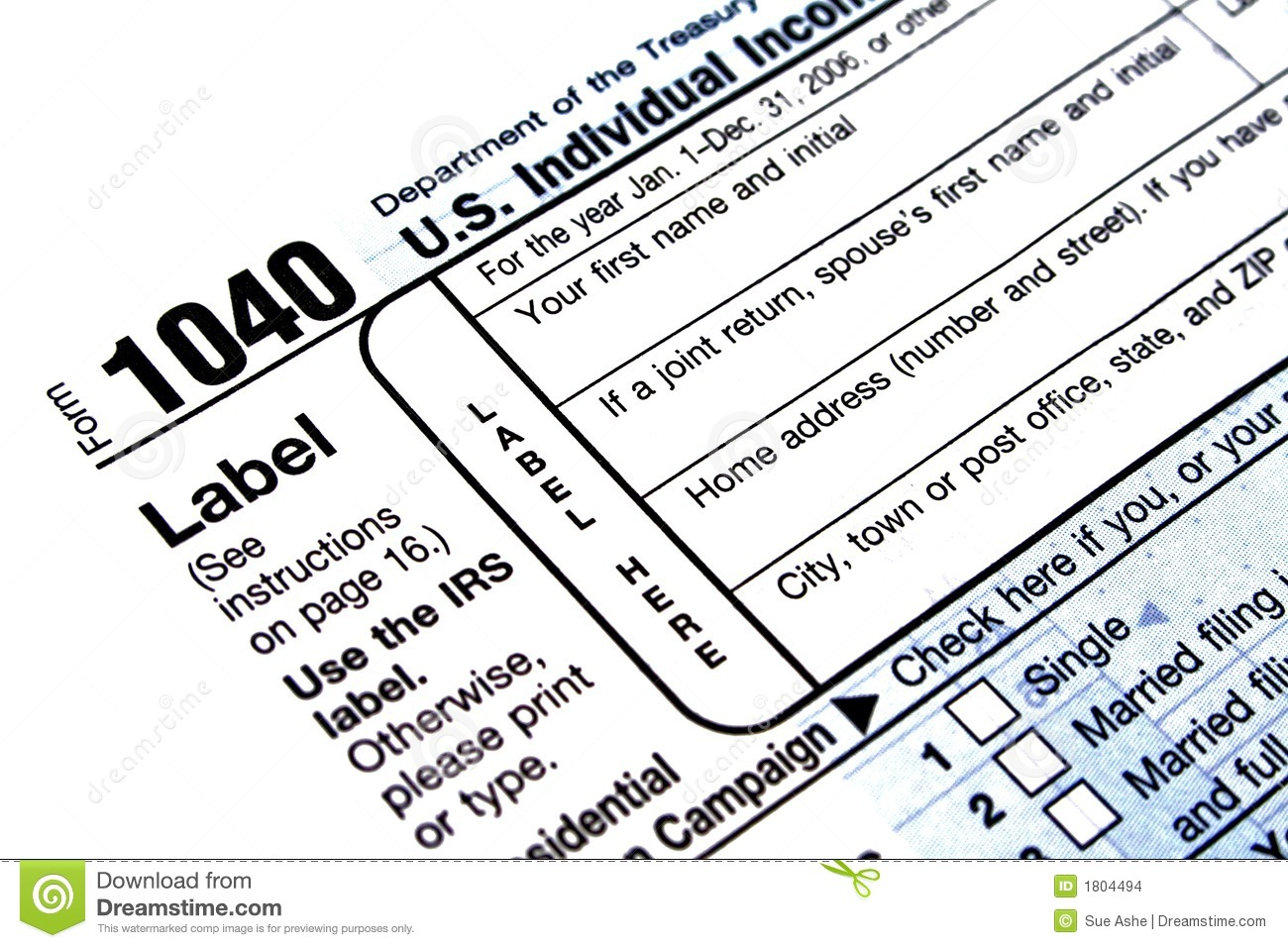 1040 Tax Form Editorial Stock Image   Image  1804494