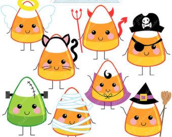 Candy Corn Characters Cute Digital Clipart   Commercial Use Ok