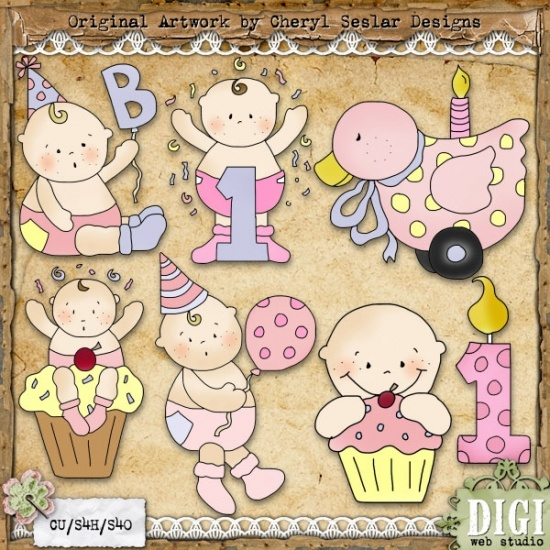 Celebrate Baby Girl 1   Cheryl Seslar Country Clip Art