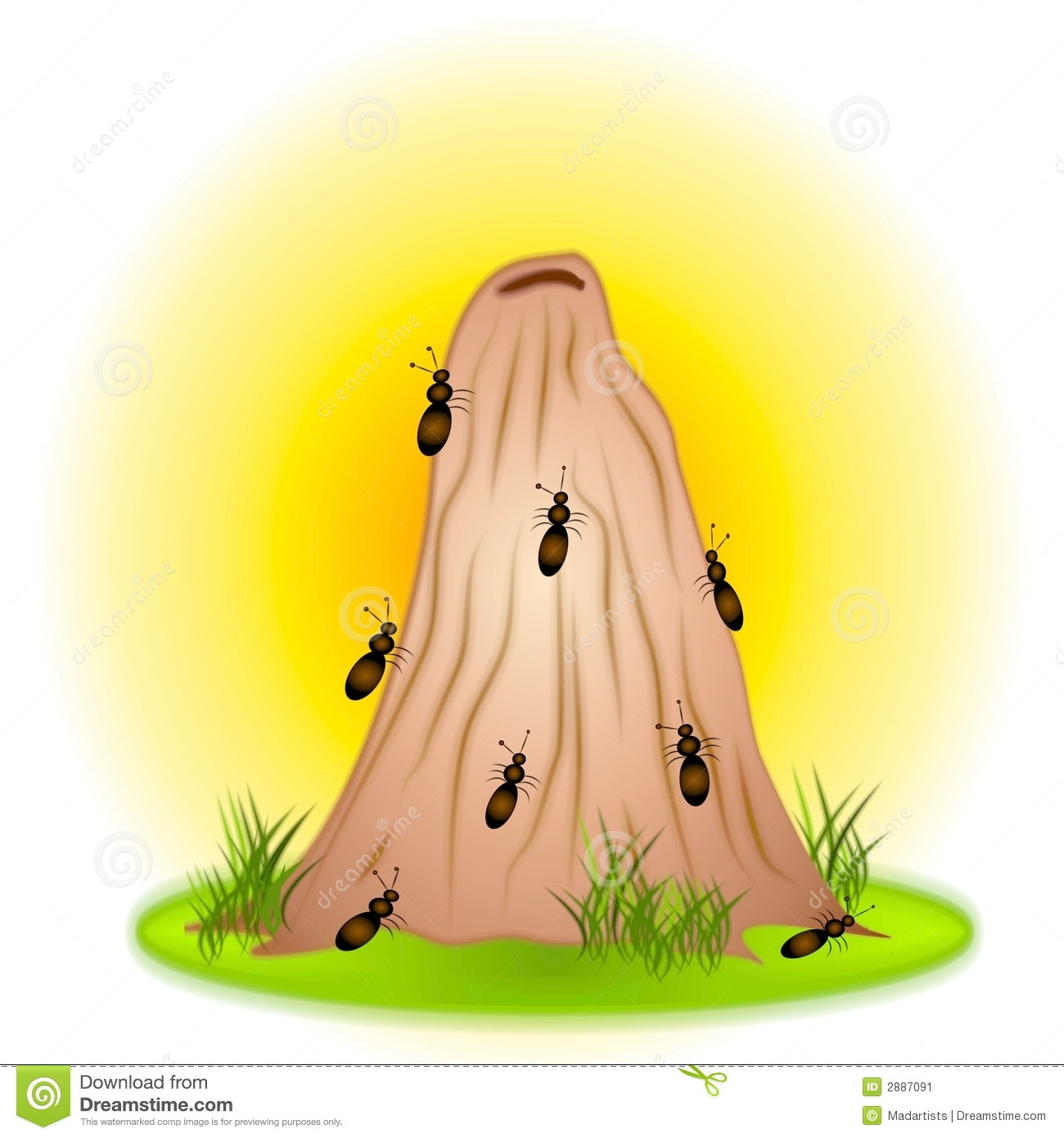 Clip Art Illustration Of A Bunch Of Ants On An Anthill With Grass