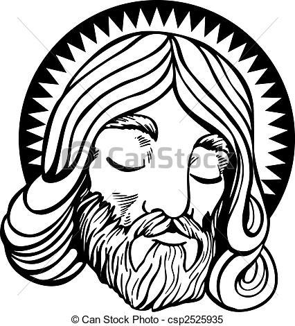 Clipart Vector Of Jesus Line Art   Face Of Jesus With Halo In A