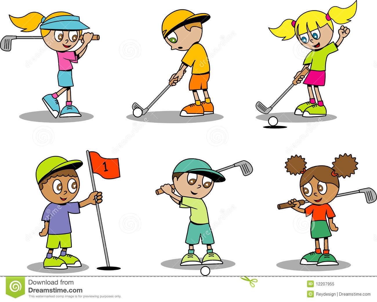 Kids Golf Cartoon Cute Clipart Kid