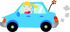 Driving Clipart Image   Teenybopper Girl Going For Her Drive In A Tiny