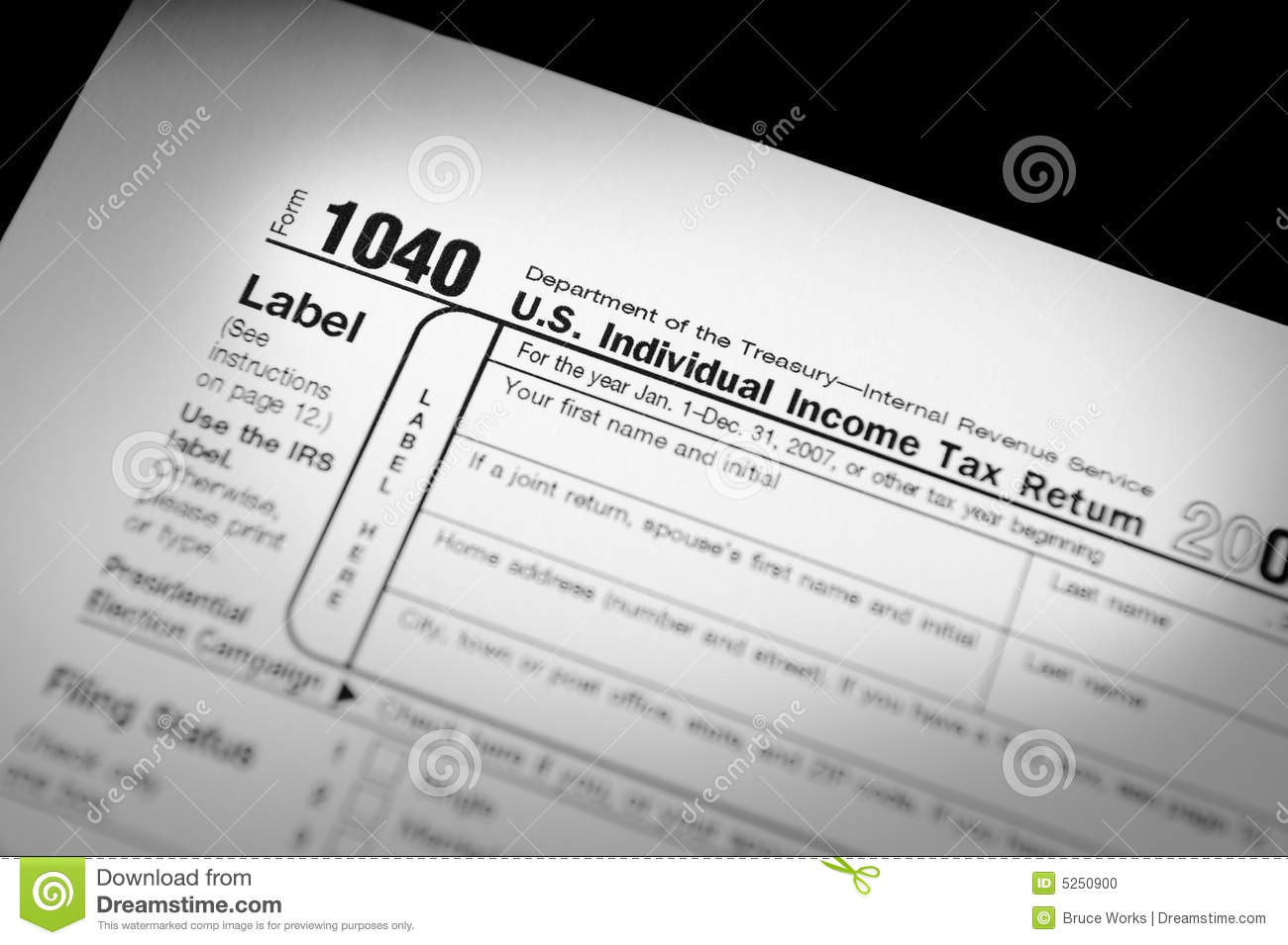 Irs Form 1040 Stock Photo   Image  5250900