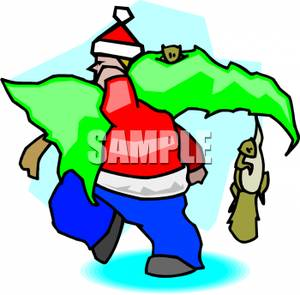 Man In A Santa Coat And Hat Carrying A Christmas Tree Clipart Image